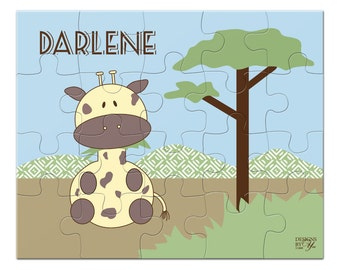 Personalized Puzzle, Giraffe, Name Puzzle, Custom Name