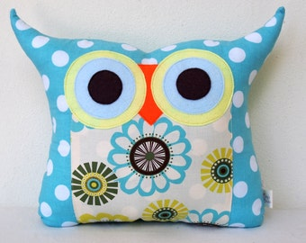 Gift/kids and baby /Aqua Owl pillow/owl decor/Ready to ship(large size)