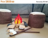 Felt Campfire with Tree Stump Seats, logs, rocks, Roasting Stick, Marshmallow, and S'more - camping - photo prop - tent - Bonfire