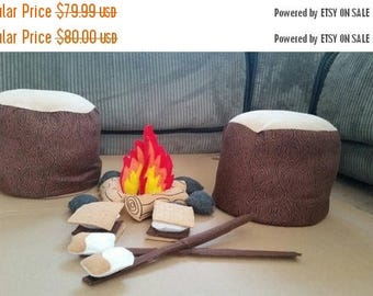 Flash Sale Felt Campfire - photography prop - Tree Stump Seats - pretend campfire  - pretend play - camping  - Bonfire - felt food - toy fir