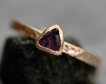 Raw Amethyst Trilliant in Textured Recycled Solid 14k Yellow Gold Ring- Made to Order