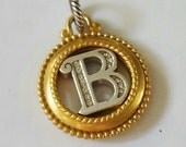 """Vintage Brighton """"B"""" Initial Pendant or Charm ~ 2-tone with Swarovski Crystal Accents"""