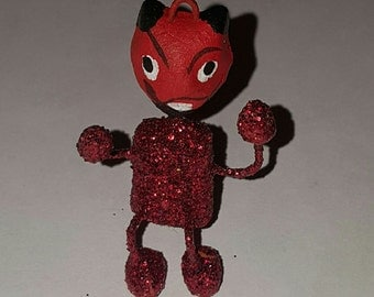 Hand Crafted Red Devil Folk Art Figurines from Oaxaca Mexico - Los Dias de los Muertos
