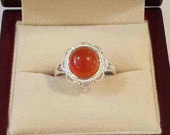 Vintage Sterling Silver Red Agate Ring Size 6