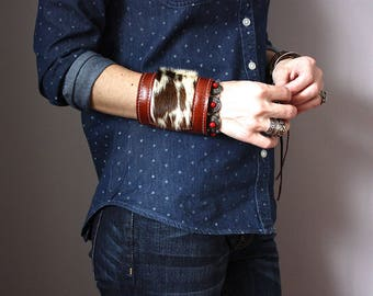 Wide leather cuff, hair on hide bracelet, handmade boho jewelry, gypsy bracelet, bohemian fashion, hippie bracelet cuff