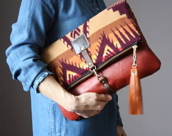 Native American Leather fold over clutch, fold over bag, fold over purse, wool fabric and sienna leather clutch with leather wrist strap