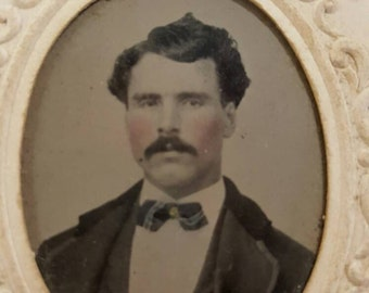 Tintype Photo Of Handome Man With Thick Wavy Hair and Tinted Cheeks from Rustysecrets