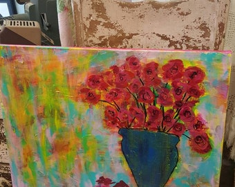 Colorful Impressionist Style Blue Vase and Flowers Painting from Rustysecrets