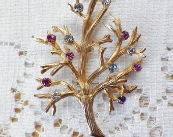 Vintage 12 K / Karat Gold Filled Signed Turinino Bare Tree Pin / Brooch / Broach with Colorful Rhinestone Accents, Rhinestones on Branches