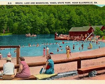 Vintage Georgia Postcard - At the Lake, Vogel State Park (Unused)