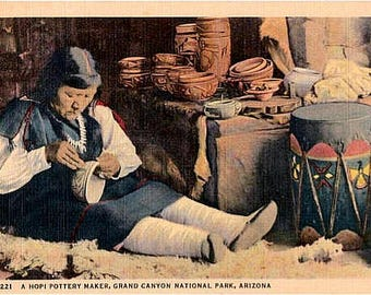 Vintage Arizona Postcard - A Hopi Pottery Maker at the Grand Canyon  (Unused)
