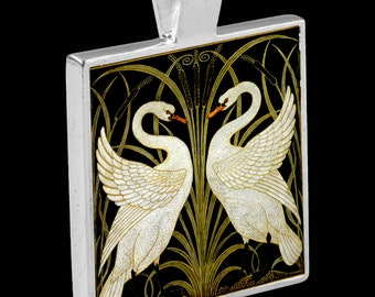 Silver Pendant with Necklace - featuring an Art Nouveau Tile (The Swans by Walter Crane)