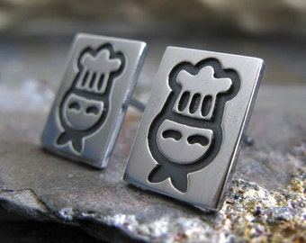 Chef stud earrings handcrafted in sterling silver. Culinary Cook little post jewelry. Cute Sous chef gift for her.  Gourmet foodie. Baker..