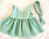 Bear Dress and Tie in Mint Green