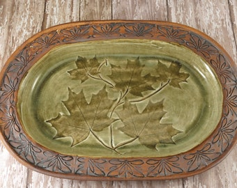 Decorative Ceramic Plate - Handmade Pottery Serving Plate - Dinner Plate - Unique Dinnerware - Rustic Home Decor - Pottery Maple Leaves -244