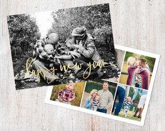 Photo New Year Card Template: Happy New Year Script Custom Photo Holiday Card Printable