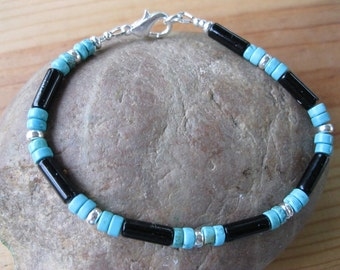 Black Onyx, Turquoise, Sterling Silver Bracelet, Native American Bracelet, Mens Native Bracelet, Womens Native Bracelet, Tribal Bracelet