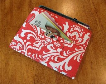 Coral and White Dandelions Magazine & Tract Bag, Tablet Sleeve, With Contact Card Pocket