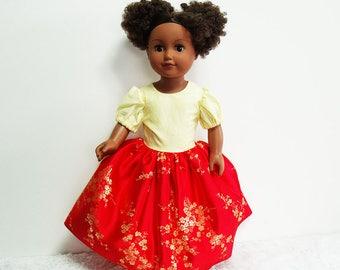 "Satin Doll's Dress, 18 inch Dolls satin brocade dress, Gathered doll dress, yellow and red long dress, 18"" dolls floral brocade dress"