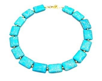 Turquoise Blue Jasper STATEMENT Necklace Gold Beaded Ocean Blue Semi Precious Gemstone Beach Summer Goddess Boho Chic Style Mei Faith