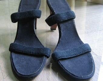 Vintage Black High Heels With Elastic Straps