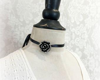 Rose Choker - Ribbon Choker - Black Choker - Rose Pendant Choker - Rose Charm Choker - Ribbon Necklace - Silver Rose Choker -  Trendy Choker