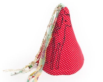Red polka dot little deer print fabric party hat