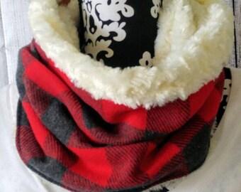Flannel Cowl Scarf - Red Buffalo Plaid
