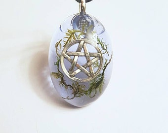 Pentacle Symbol Real Moss Nature Necklace Resin Pendant Bohemian Jewelry Pentagram Earth Pagan Wiccan Wicca Star Spiritual Blue