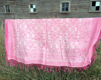 Vintage Jaquard Woven Fringed Italian Wedding Bedspread Coverlet Pink 79x72