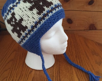 Hat with Earflaps Hand Knit Acrylic Denim Blue Teddy Bears 12 Months Through Toddler Free US Shipping
