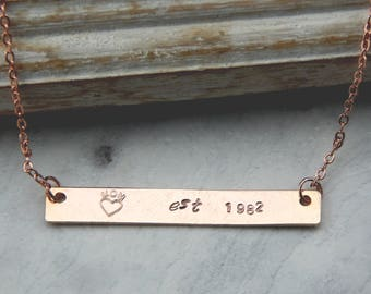 Mom Bar Necklace,Date Necklace,Hand Stamped Mothers Necklace,New Mom Necklace,Mothers Day Necklace,Baby Shower Gift
