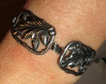 Acorn Oak Tree Leaf Sterling Silver 925 Panel Bracelet