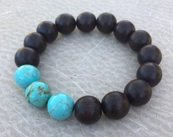 Turquoise and Wood Bead Bracelet - Bohemian Stacking Bracelet Boho Style - Turquoise Trio Handmade by SplendorVendor