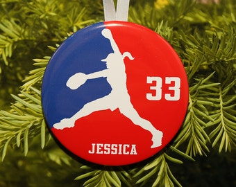 Girls Womens Softball Pitcher Silhouette Christmas Ornament - team colors - customized - C125