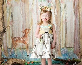 Girls Deer Dress, Spring Deer Face Dress, Doe dress, Deer Fawn Dress for toddlers and girls, Buck print dress, by Melon Monkeys