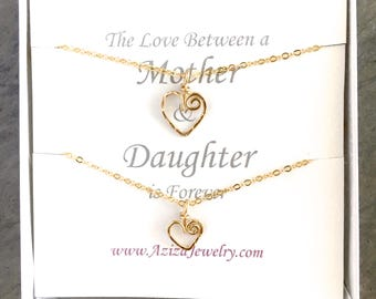 Mother Daughter Heart Necklaces. Gold Heart Necklace Set for Mom. Two Hearts Necklace Gift Set. Push Present. Mothers Day Jewelry