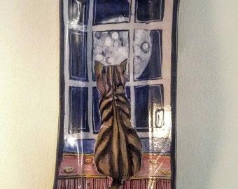 Majolica ceramic tray - moon princess tabby cat - hand painted - hand made tray