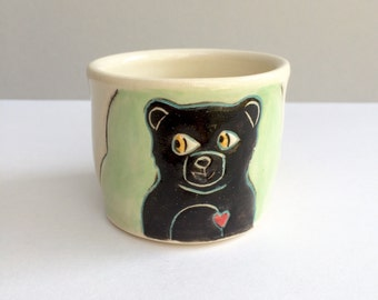 Black Bear Loves Donuts Cup, Small, Green and Black Shot Cup or Ceramic Shot Glass or Child's Cup, Barware, Animal Pottery