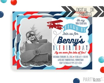 Vintage Airplane Birthday Invitation | Digital or Printed | Vintage Plane Invitation | Airplane Invitation | Airplane Invite | Prop Plane