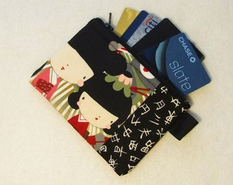 Kaori Kokeshi Womens Credit Card Case Zippered Coin Purse Wallet Business Card Holder Japanese Dolls Fabric Alexander Henry Red Olive Kawaii