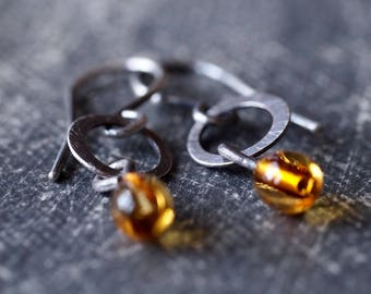 Original handmade amber or white glass drop and hammered hoop short earrings