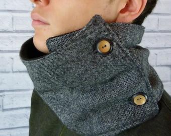READY TO SHIP Men's Neckwarmer Scarf - Yorkshire Birdseye Tweed, Black/Grey