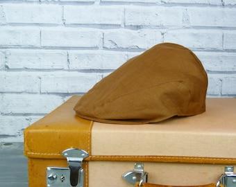 Mens Flat cap - Cocoa Brown Irish Linen