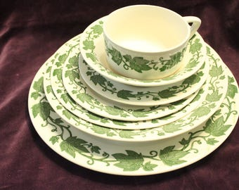 2 Sets of English Ivy Royal China Dishes  14 pieces- 2 Dinner Plates, 2 Salad Plates 2 Lg bowls 2 sm. bowls 2 bread plates 2 cups 2 Saucers