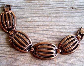 Modernist Copper Bracelet, Vintage Rebajes Style Wide Link Bracelet, Vintage Copper Link Bracelet, Modernist Copper, MCM Bracelet