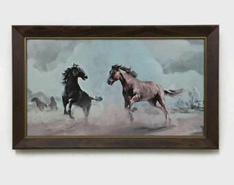 Vintage Wild Horse Print - Framed - Rustic Decor