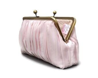 Blush Clutch, Pink Clutch, Wedding Clutch, Bridal Bag, Blush Bag, Evening Clutch, Bridesmaid Gift, Pleated Purse