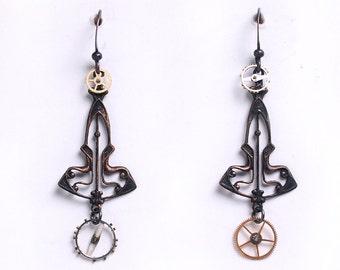 Steampunk Brass Filigree and Watch Gear Wheels Earrings