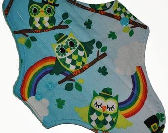 Moderate Hemp Core- Rainbow Owls Reusable Cloth Maxi Pad- 10 Inches (25.5 cm)